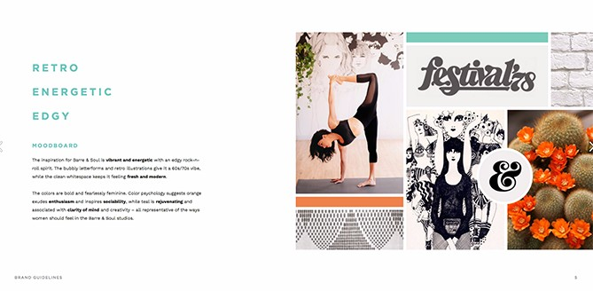 Color palette for Barre & Soul whose brand inspiration includes Retro, Energetic, and Edgy