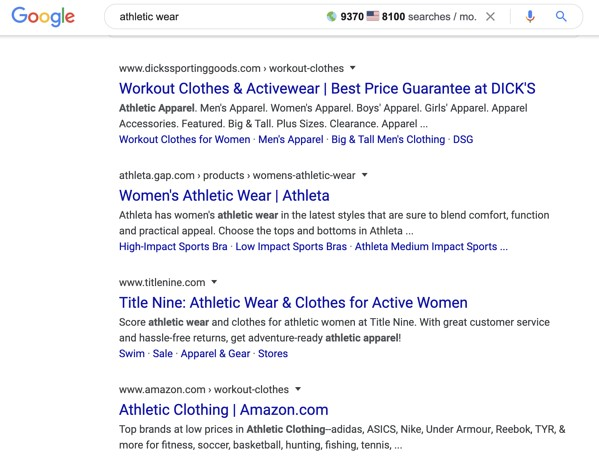 """Google organic search results for """"athletic wear"""" query."""