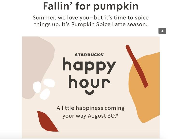 starbucks happy hour event email invite