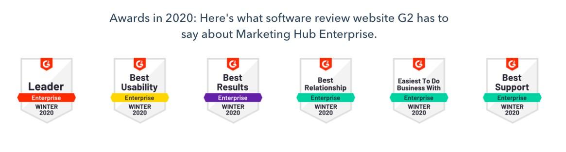 Marketing Hub Enterprise G2 awards