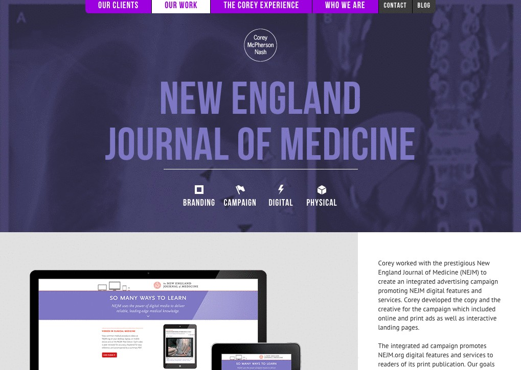 Business case study example on New England Journal of Medicine, by Corey McPherson Nash