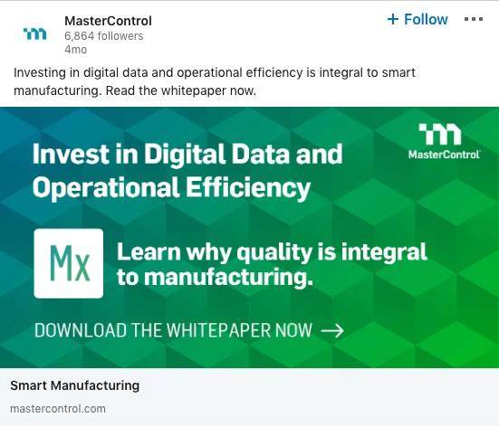 MasterControl ad example on LinkedIn