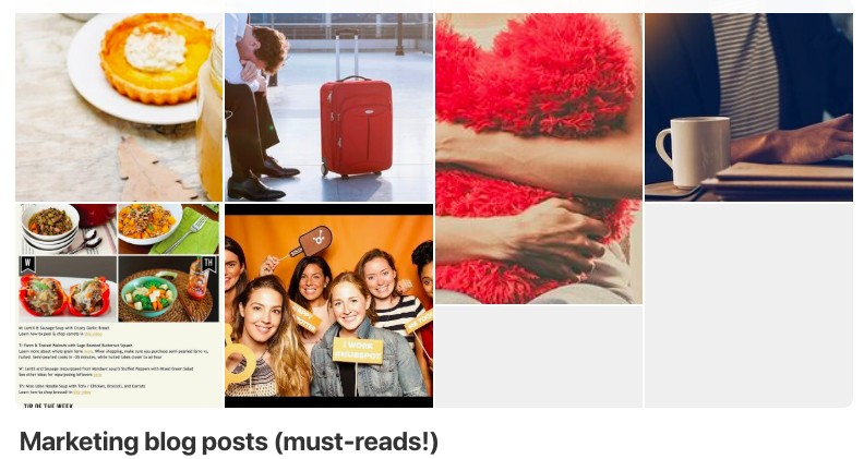 Example of a good Pinterest board.