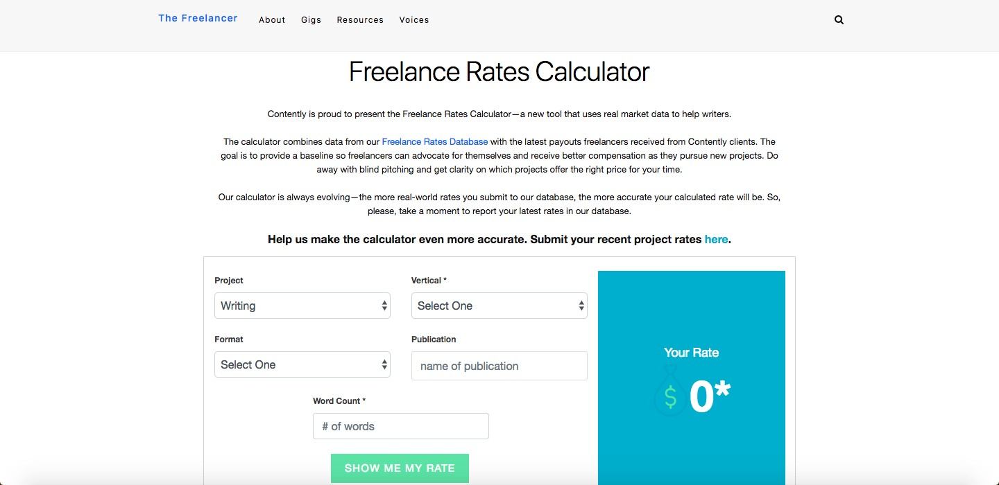 Contently offers a crowdsourced freelance rates calculator.