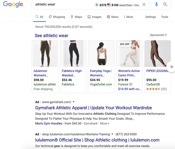 """Google paid results for query """"athletic wear."""""""
