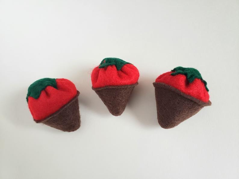 Organic Catnip Chocolate Covered Strawberry Cat Toy image 0