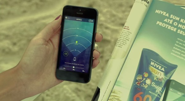 Interactive print ad by Nivea including wristband to track your child via smartphone.