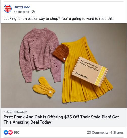 BuzzFeed ad on Facebook