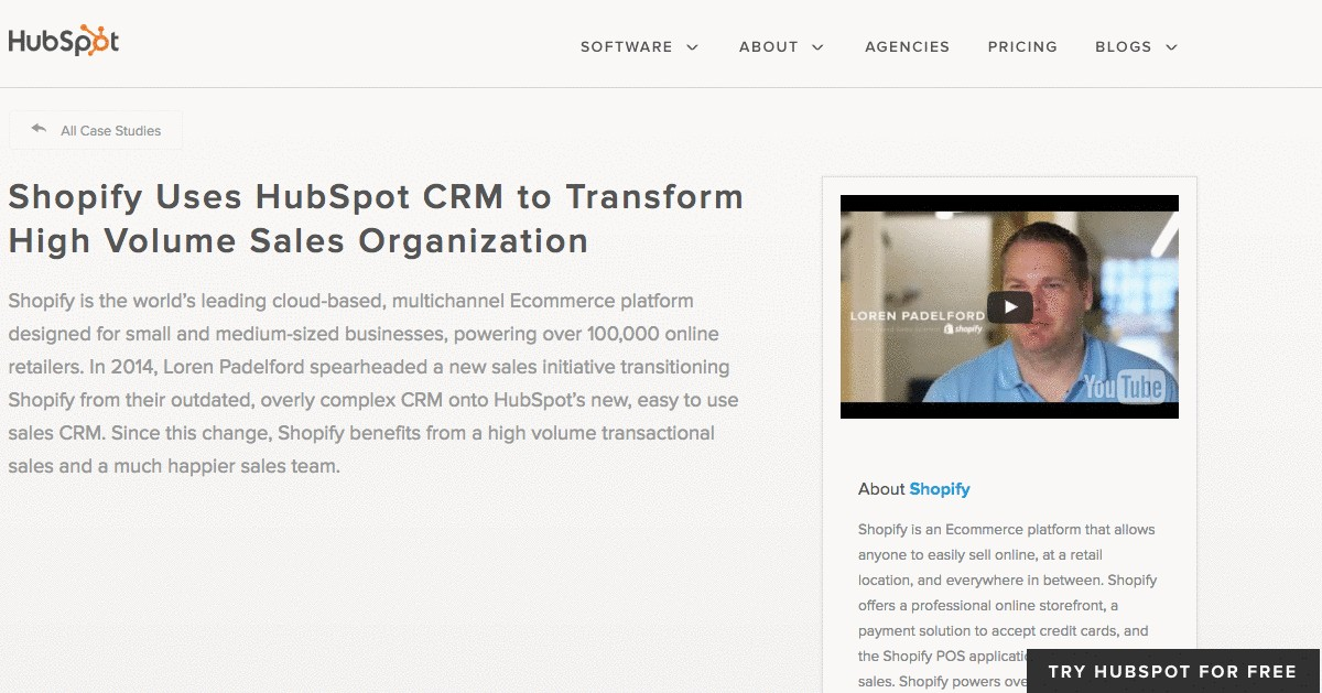 Business case study example on Shopify, by HubSpot