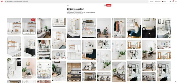 Office Inspiration Pinterest Board showing various office products