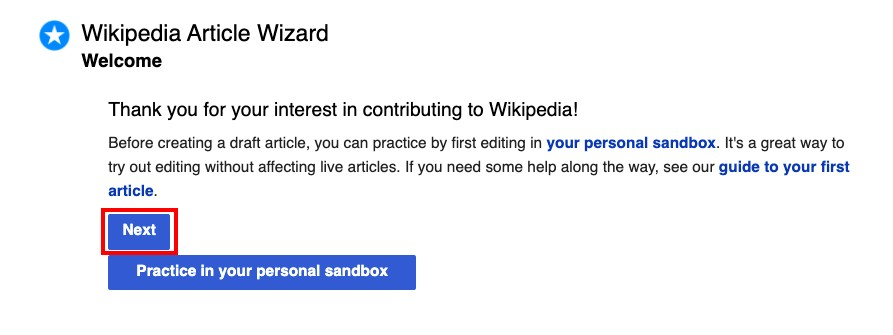 creating a wikipedia page for your company: completing Wikipedia Article Wizard set up