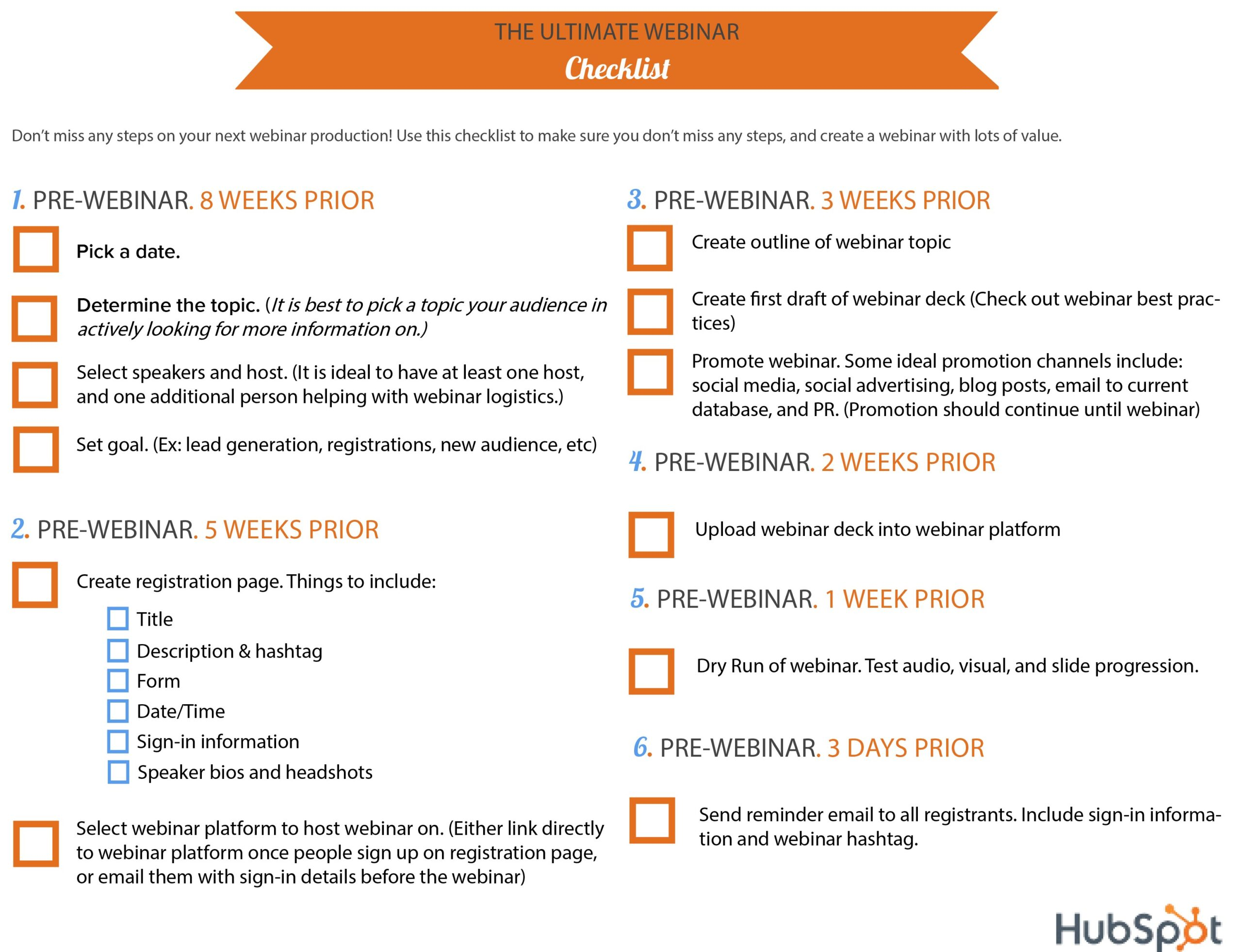 Lead magnet idea for a webinar checklist