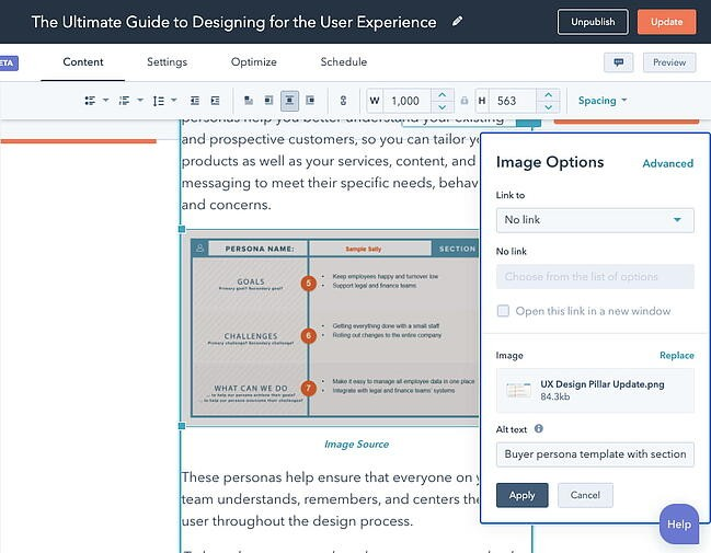 Alt text field within Image Optimization pop-up in CMS Hubs Content Editor