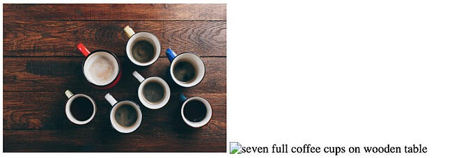 Image side by side with broken image icon and descriptive alt text that reads seven full coffee cups on wooden table