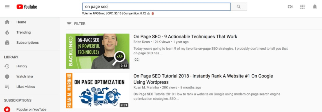 brian dean's video, which ranks first on YouTube for 'on page SEO', as an example of internet marketing