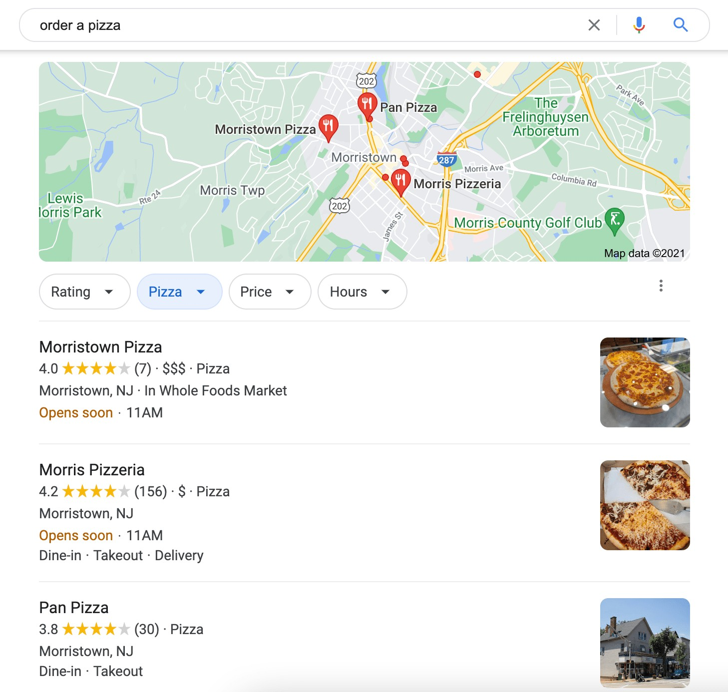 showing local pizza places in search queries for the search term order a pizza
