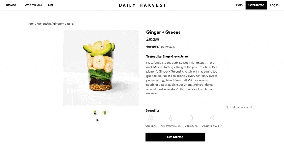 Product landing page for Ginger + Greens smoothie with ingredients list by Daily Harvest