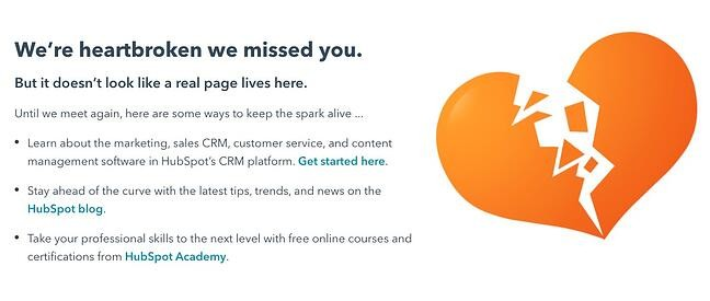 404 error page example from the website hubspot