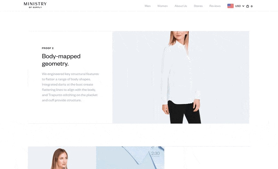 ministry of supply product landing page