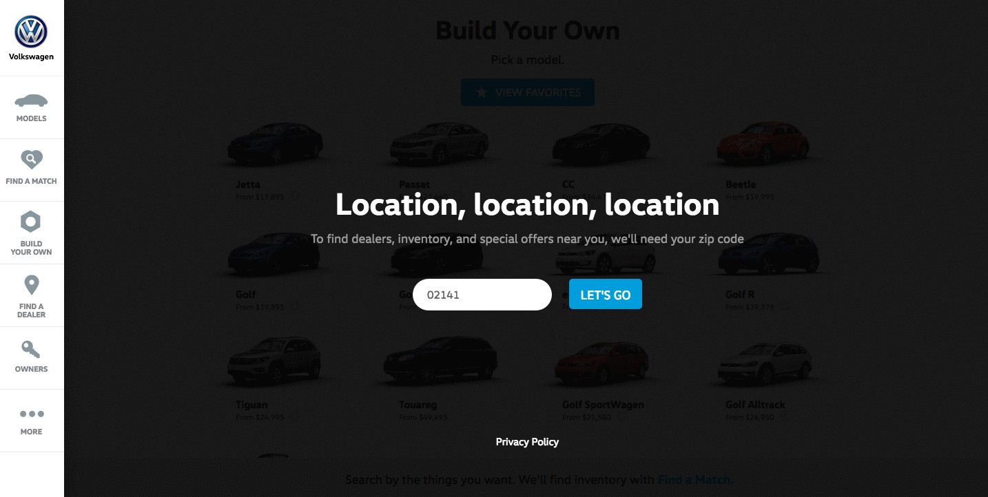 Build Your Jetta product page by Volkswagen
