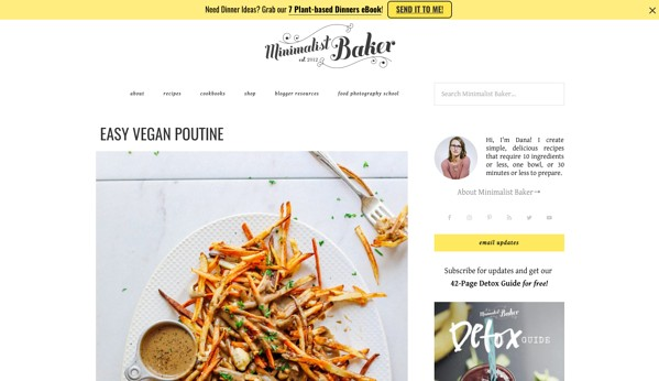 Personal Website Examples: Minimalist Baker