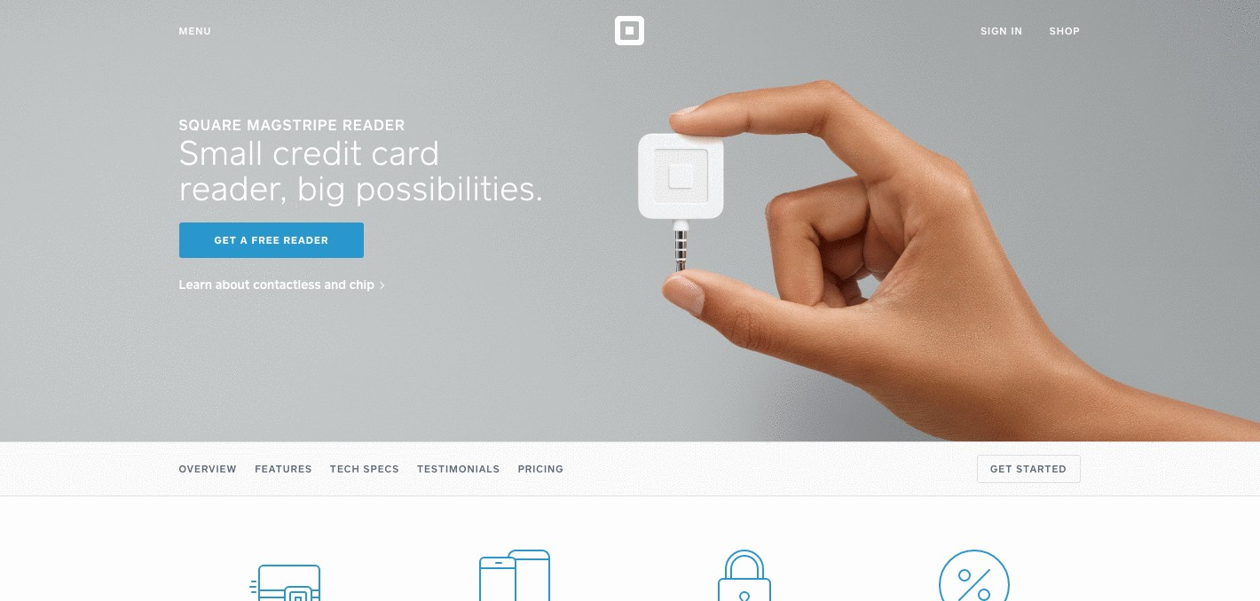 Product page of Square