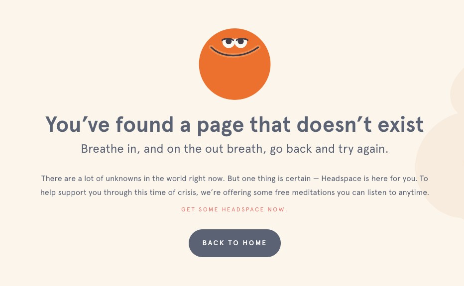 404 error page example from the website headspace