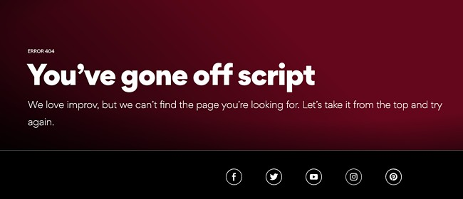 404 error page example from the website amc