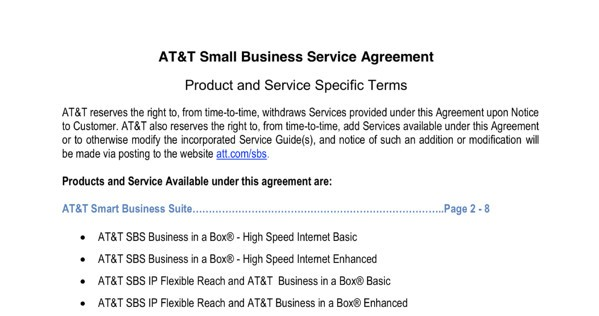 Service-Level Agreement Examples: AT&T's Small Business Service Agreement