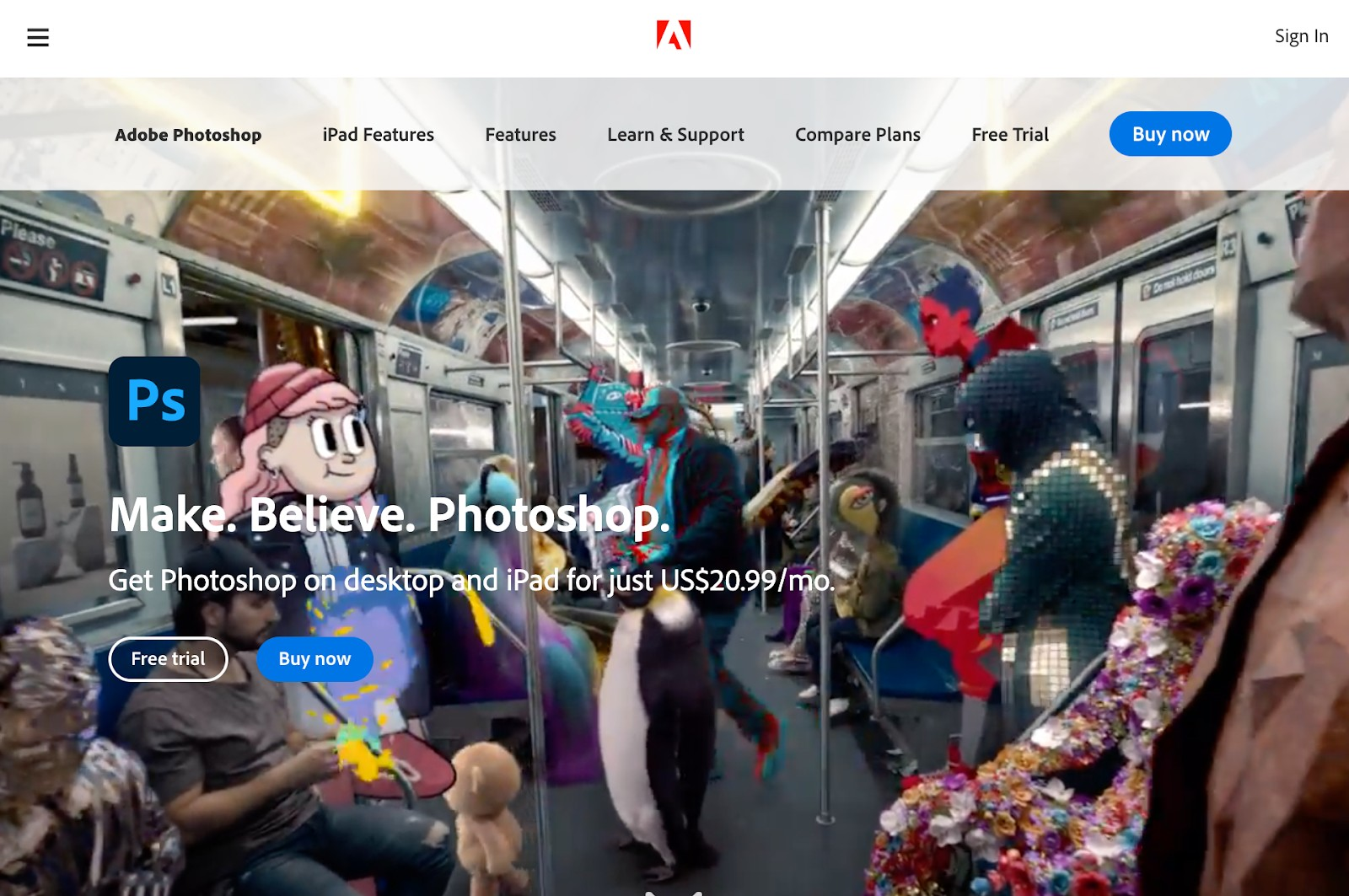 Photoshop photo editing app for creating an instagram theme
