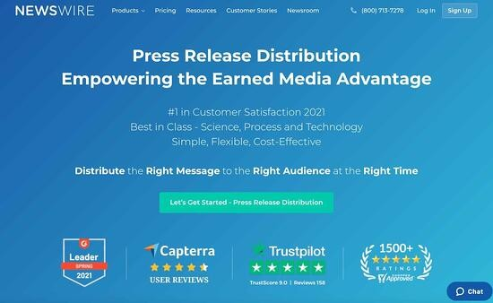 press release distribution service homepage by Newswire