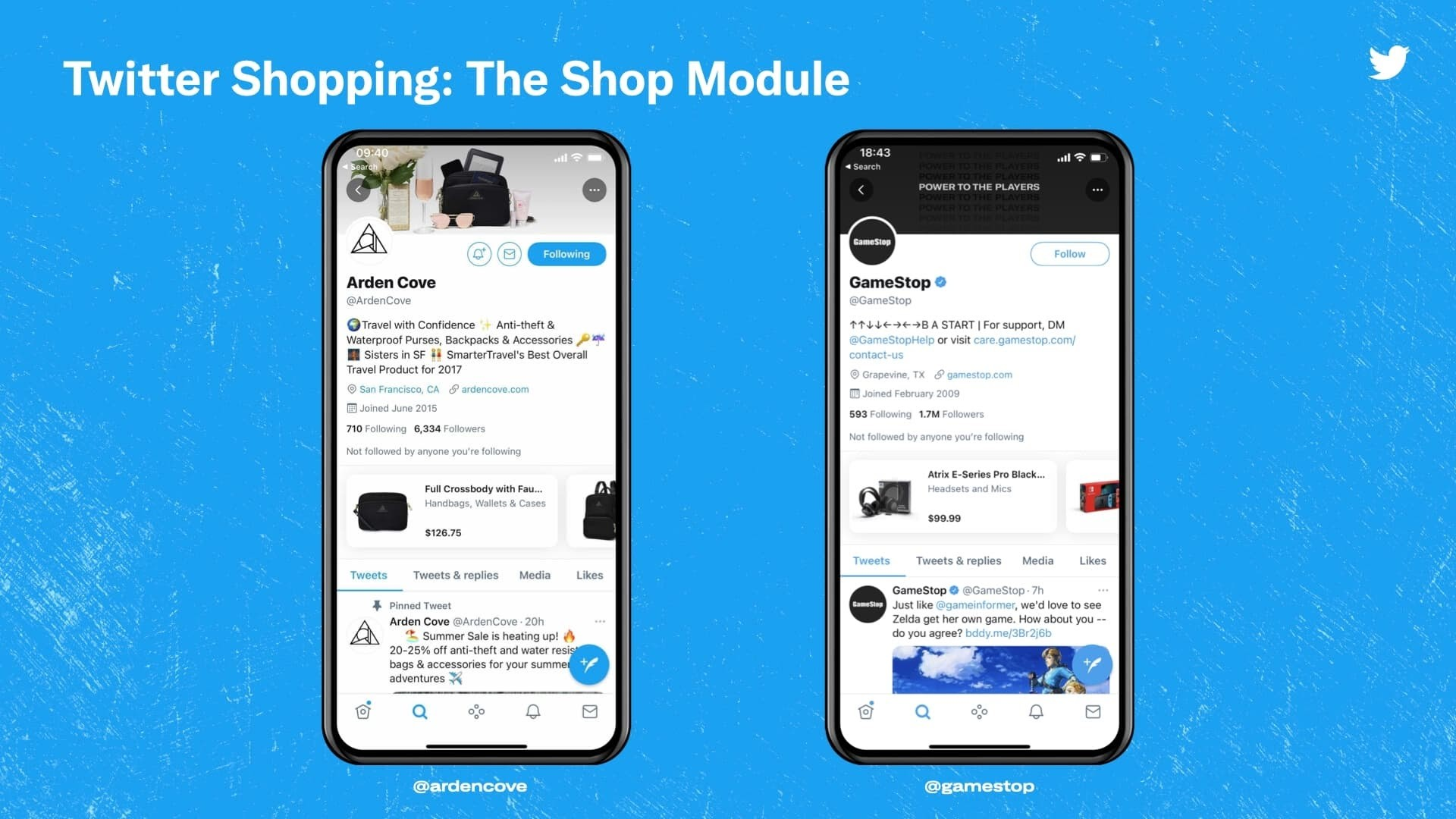 Twitter's announcement of The Shop Module