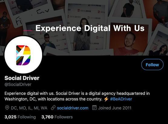 social driver twitter profile bio