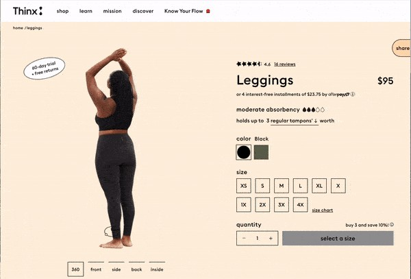 thinx leggings product page design