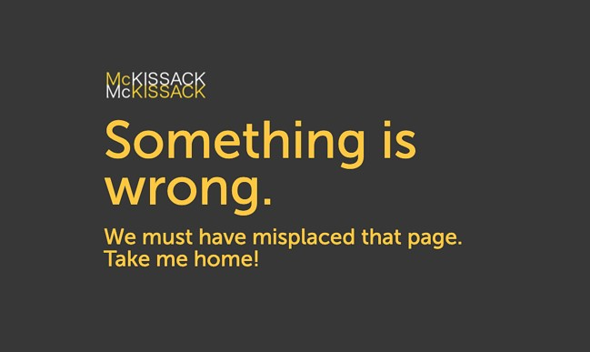 404 error page example from the website mckissack and mckissack