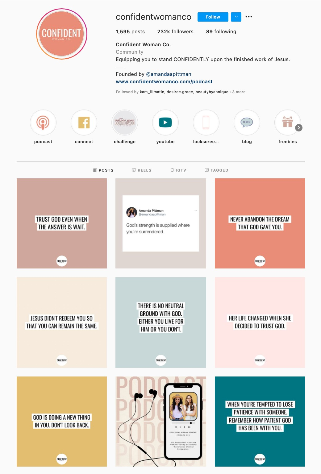 Text Only Instagram Theme Example