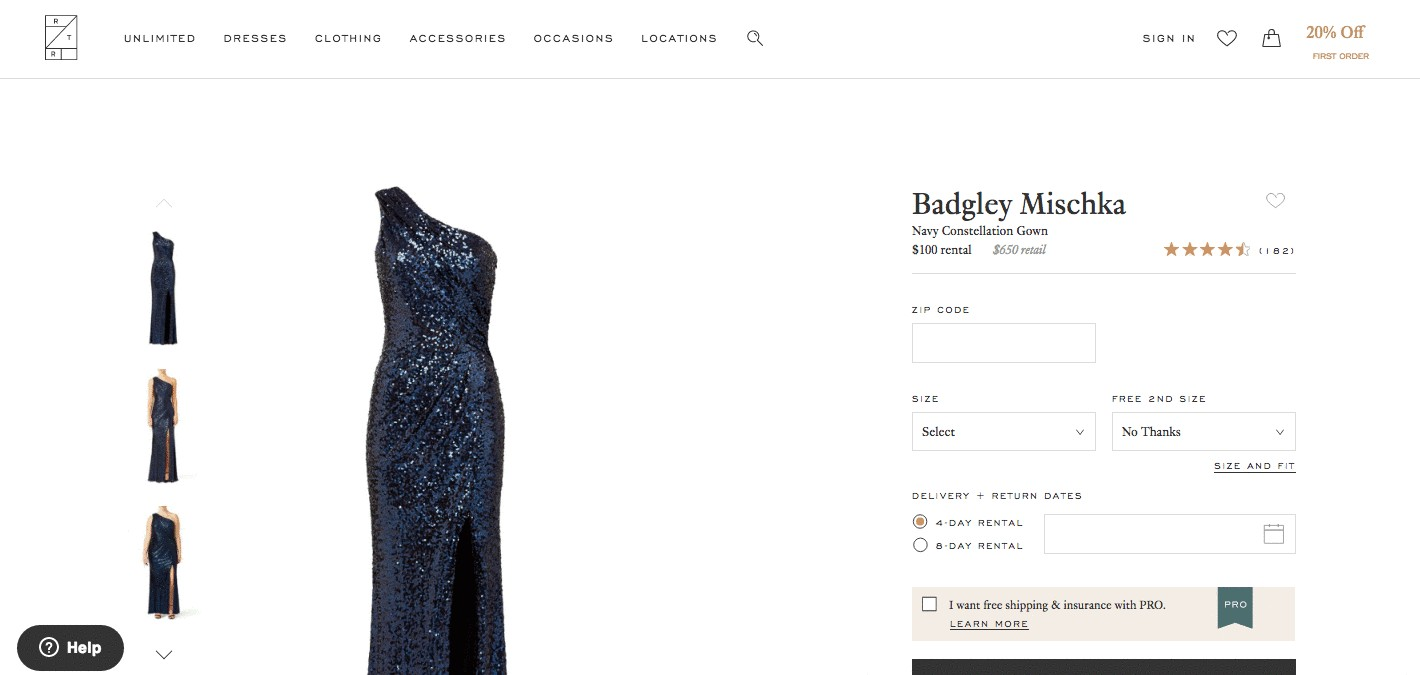 Product page for navy blue Badgley Mischka dress by Rent the Runway