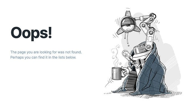 404 error page example from the website iconfinder
