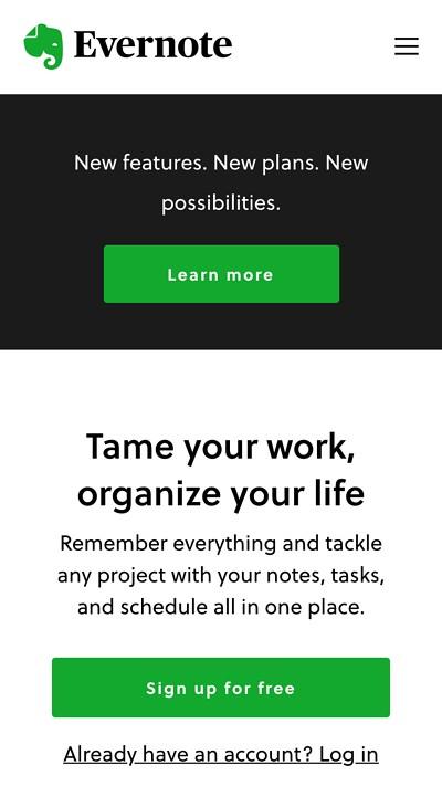 mobile website design: evernote mobile homepage