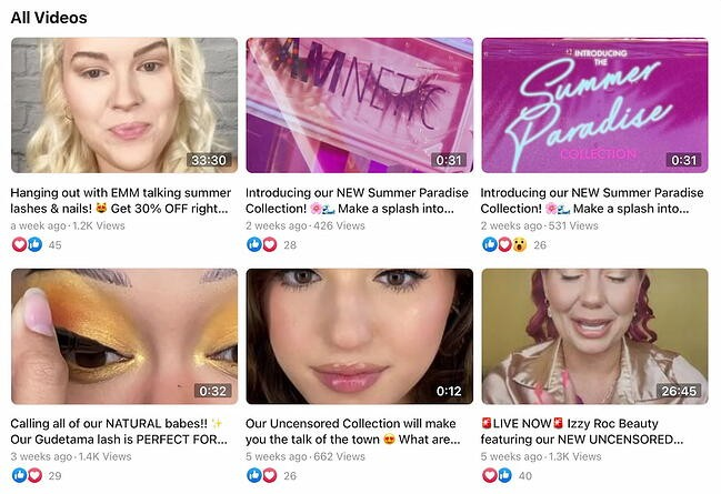Facebook videos from Glamnetic's FB Page