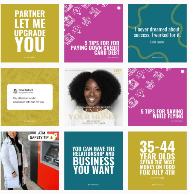 my fab finance instagram feed as an example of black-owned businesses on instagram