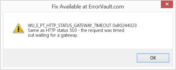 504 Gateway Timeout Error wording in Windows Update