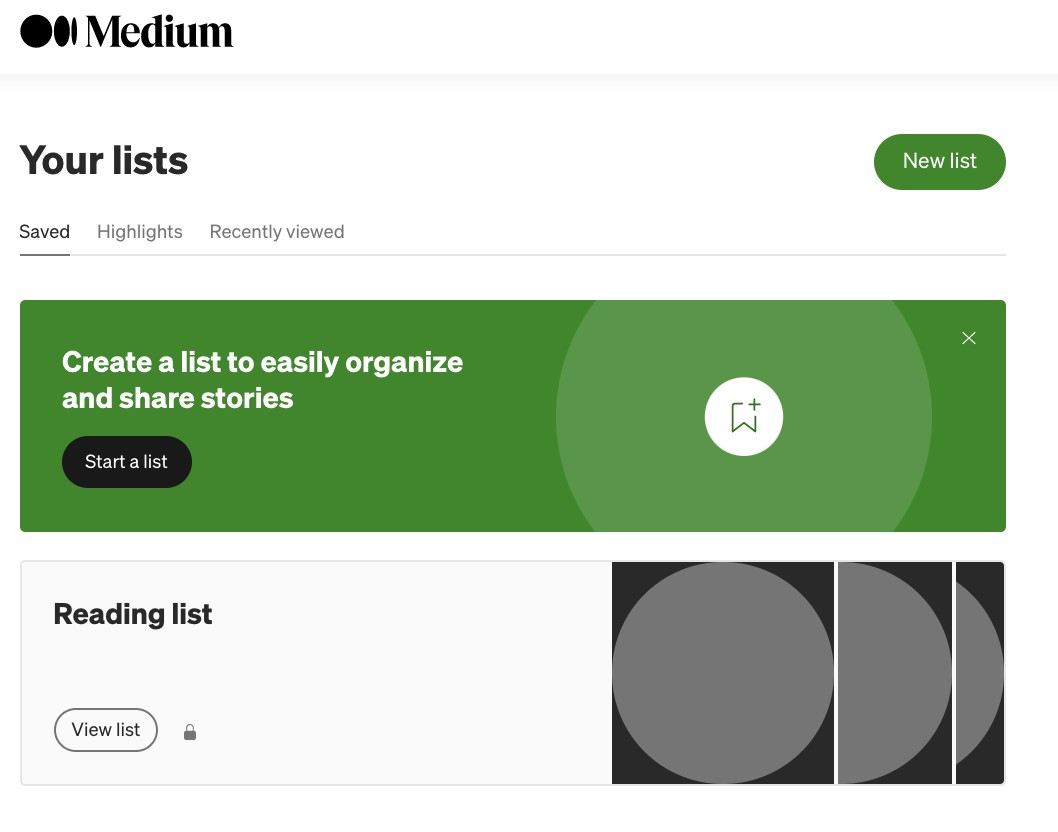 The Lists page where you can find Medium posts you've bookmarked