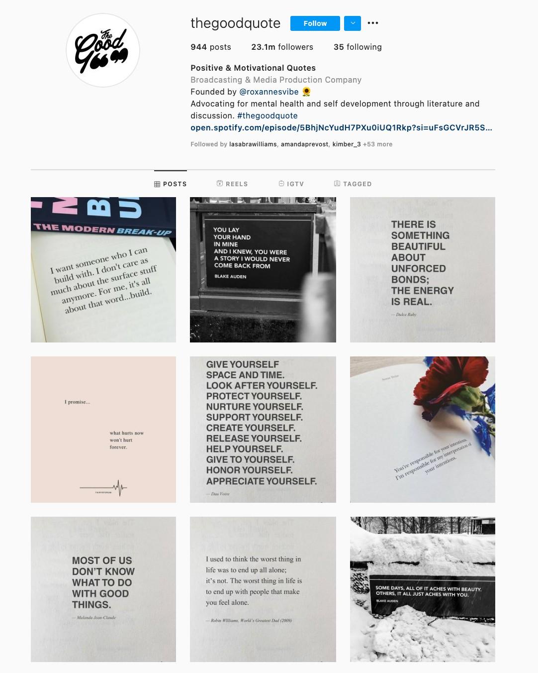 Quotes Instagram Theme Example