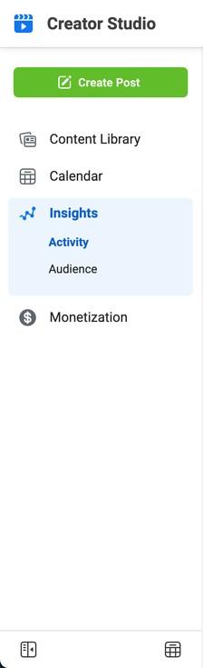 instagram creator studio insights tab highlighted in blue