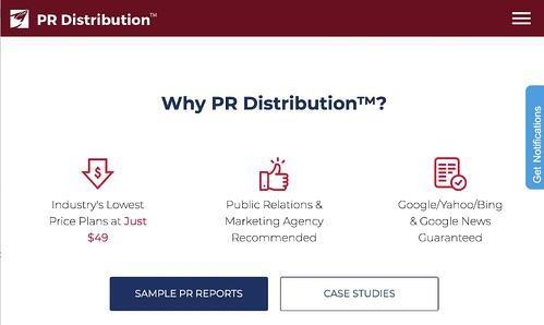 press release distribution service homepage by PR Distribution
