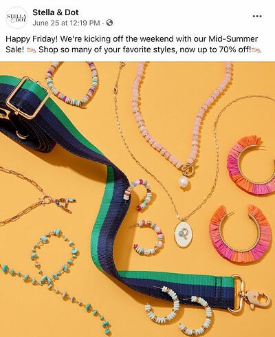 Facebook post from Stella and Dot's FB Page