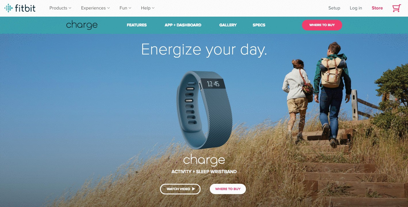 Teal product page for Fitbit Charge