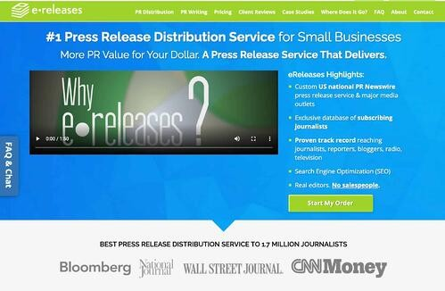 press release distribution service homepage by eReleases