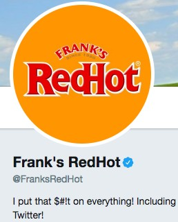 Funny Twitter bio from @FranksRedHot